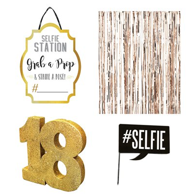 18. Geburtstag - Goldenes Selfie-Set Photo Booth