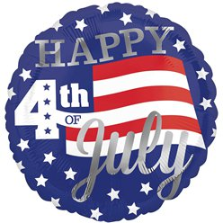 "4. Juli ""Happy 4th of July"" Amerika Party Folienballon 46cm"