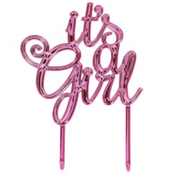 """It's a Girl"" Baby Shower - Metallisch pinker Tortenaufsetzer"