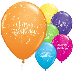 Leuchtende Sterne Happy Birthday Ballons aus Latex 28cm