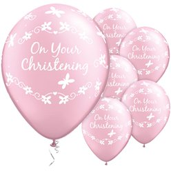 """On Your Christening"" Taufe - Rosa Luftballons aus Latex mit Schmetterlingen 28cm"