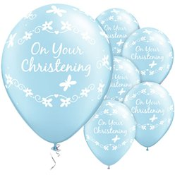 """On Your Christening"" Taufe - Blaue Luftballons aus Latex mit Schmetterlingen 28cm"