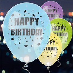 """Happy Birthday"" LED-Luftballons aus Latex 28cm"