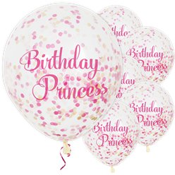 """Birthday Princess"" Pink-goldene Konfetti-Ballons aus Latex 30cm"