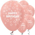 "Rotgoldene ""Happy Birthday"" Latexballons mit Sternen 30cm"