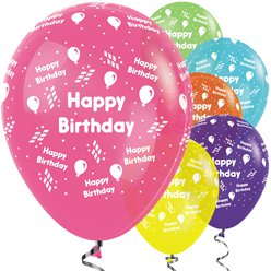 "Bunt gemischte ""Happy Birthday"" Ballons aus Latex 30cm"