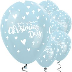 "Blaue Taufe ""Christening"" Luftballons aus Latex 30cm"