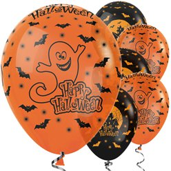 "Orange & schwarze ""Happy Halloween"" Luftballons aus Latex 30cm"