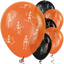 Orange & schwarze Halloween Luftballons aus Latex mit Skelettmuster 30cm