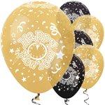 "Goldene & schwarze ""Happy New Year""-Luftballons aus Latex 30cm"