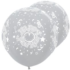 "Seidig-silberne ""Happy New Year"" Silvester-Riesenballons aus Latex 91cm"