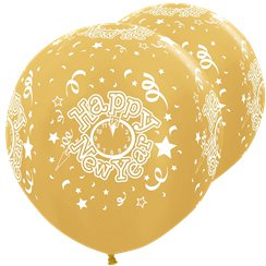 "Seidig-goldene ""Happy New Year"" Silvester-Riesenballons aus Latex 91cm"