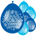 "Blaue ""Happy Birthday"" Luftballons aus Latex 28cm"