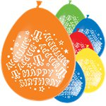 "Bunte ""Happy Birthday"" Luftballons aus Latex 28cm"