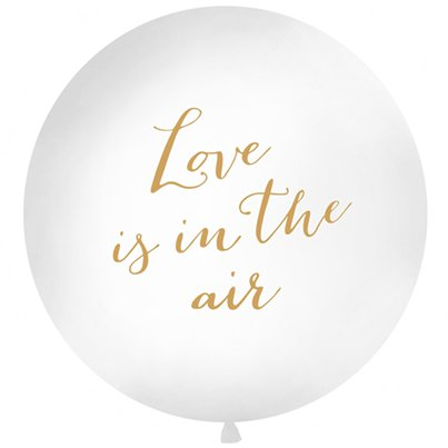 "Großer weiß-goldener ""Love is in the air"" Luftballon aus Latex 91cm"