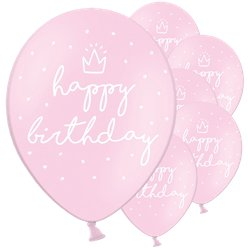 "Pastellrosa ""Happy Birthday"" Luftballons aus Latex 30cm"