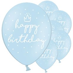"Pastellblaue ""Happy Birthday"" Luftballons aus Latex 30cm"
