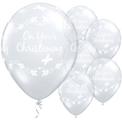 """On Your Christening"" Taufe - Durchsichtige Luftballons aus Latex 28cm"