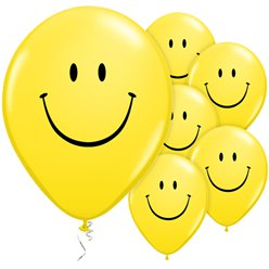 Gelber Smiley Luftballons aus Latex 28cm