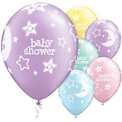 Baby-Shower - Mond & Sterne Ballons 28cm