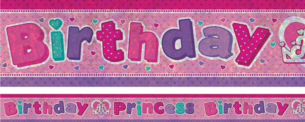 """Birthday Princess"" Holographischer Folienbanner 2,7m"