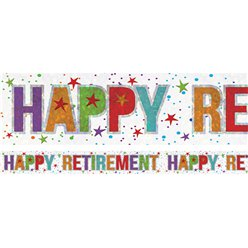 "Pensionierung ""Happy Retirement"" - holographischer Folienbanner 2,7m"