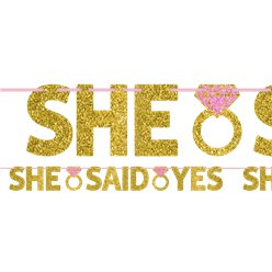 """She Said Yes"" Glitzernde Buchstabengirlande"