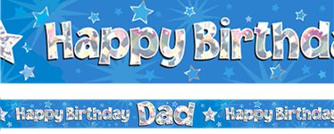 """Happy Birthday Dad"" Pinker Folienbanner 2,7m"