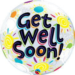 """Get Well Soon!"" Gute Besserung Runder Bubble Ballon 56cm"
