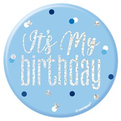 "Glitzernder blauer Geburtstag - ""It's My Birthday"" Anstecker 7cm"