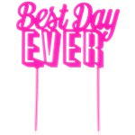 """Best Day Ever"" Glitzernde goldene Tortendeko 22cm"
