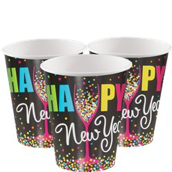 "Silvester - ""Happy New Year"" Pappbecher mit Konfetti 270ml"