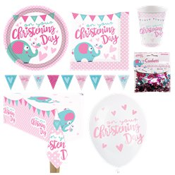 Pinke Taufe - Premium Party-Set - Für 8 Personen