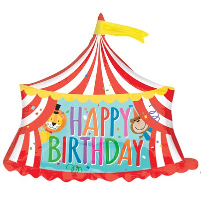 "Zirkus ""Happy Birthday"" Geburtstag Riesenfigur Folienballon 71cm"