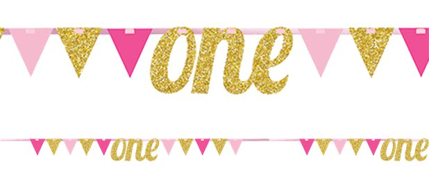 "Alter 1 ""one"" Pink-goldene glitzernde Girlande 2,7m"