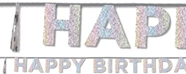 """Happy Birthday"" Glitzernde Schillernde Buchstabengirlande 3m"