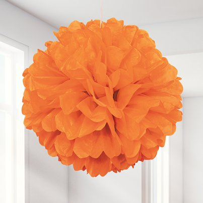 Orange Pompon Deko 41cm