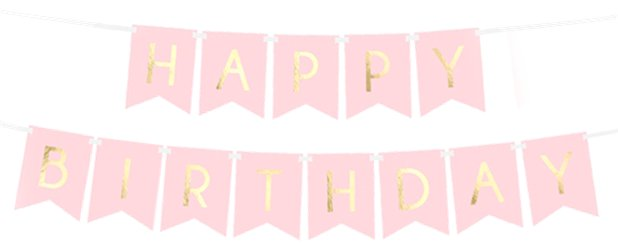 "Pastellrosa & goldene ""Happy Birthday""-Girlande 1,7m"
