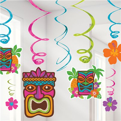 Tiki-Party Wirbel Hängedeko 55cm - Hawaii Deko