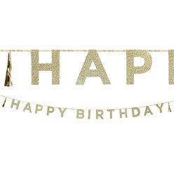"""Happy Birthday"" Golden glitzernde Girlande 3m"