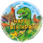 "Dinosaurier-Abenteuer - ""Happy Birthday"" Folienballon 46cm"