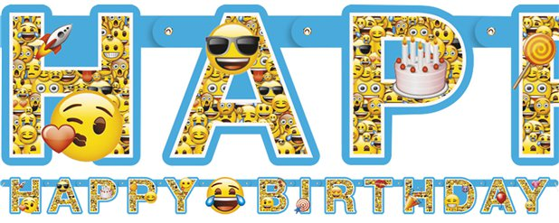 "Emoji - ""Happy Birthday"" Girlande 1,8m"