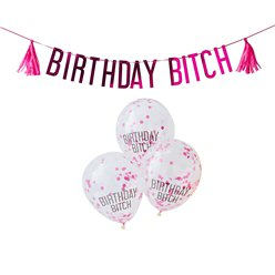 """Birthday Bitch"" Girlande & Ballons Set"
