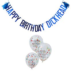 """Happy Birthday Dickhead"" Girlande & Ballons Set"