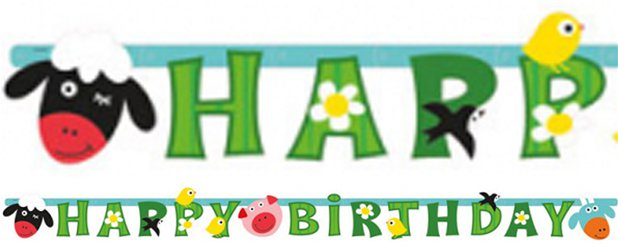 "Farmtiere - ""Happy Birthday"" Girlande 1,8m"