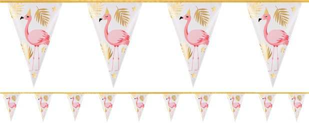 Flamingo Girlande mit Goldfolie 4m