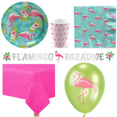 Flamingo Paradies - Premium Party-Set - Für 8 Personen