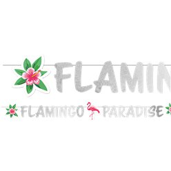 Flamingo Paradies - Glitzernde Girlande 1,35m