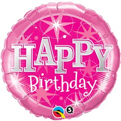 "Pinker ""Happy Birthday"" Folienballon 46cm"