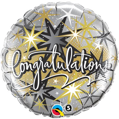 """Congratulations"" eleganter gold-silberner Folienballon 46cm"